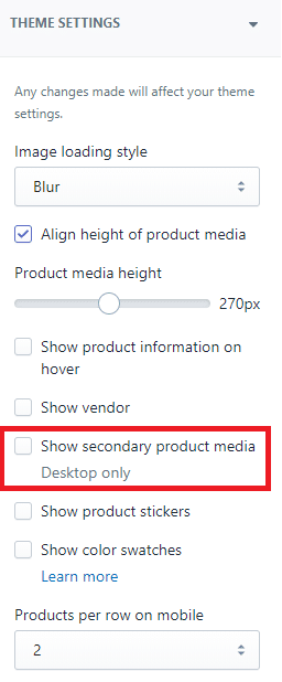 secondary product media option