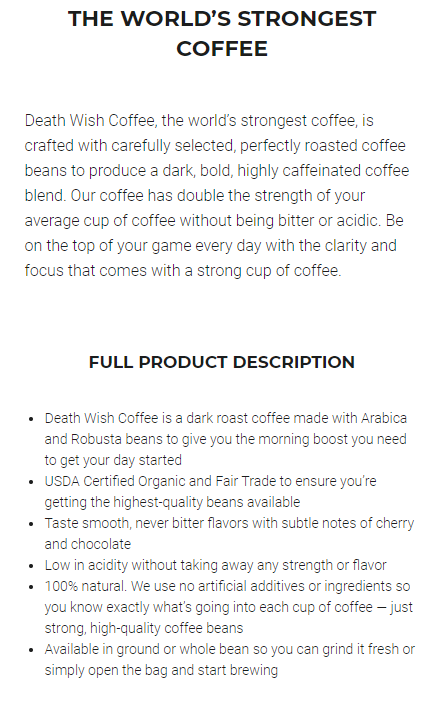 death wish coffee product description