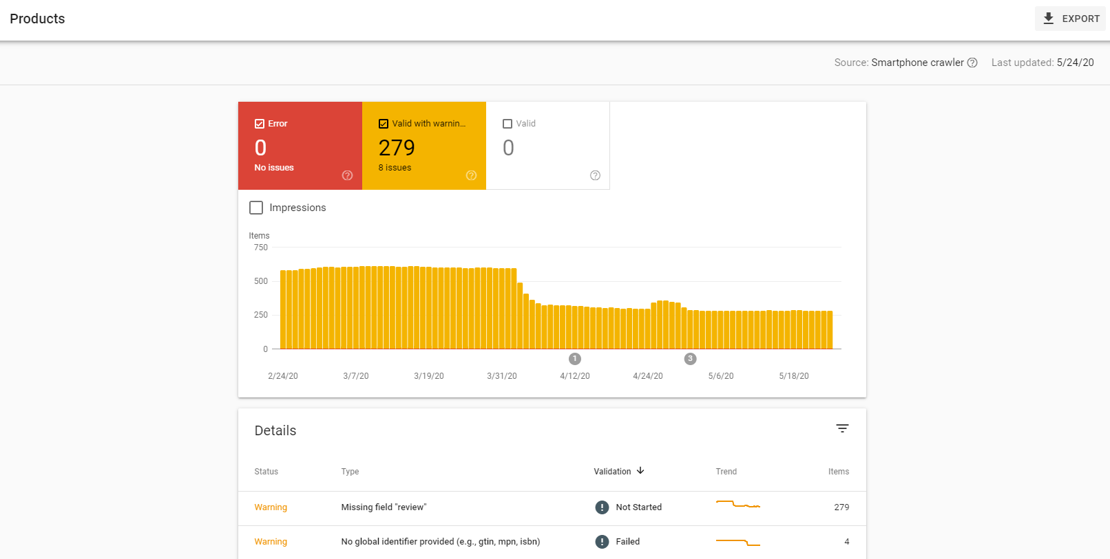 google search console products menu