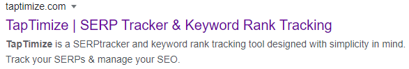 taptimize homepage in search results
